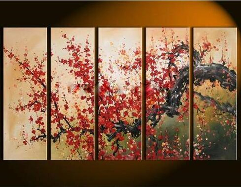 Handpainted 5 Panel Canvas Art Chinese Plum Red Flower Oil Painting Modern Home Wall Decor