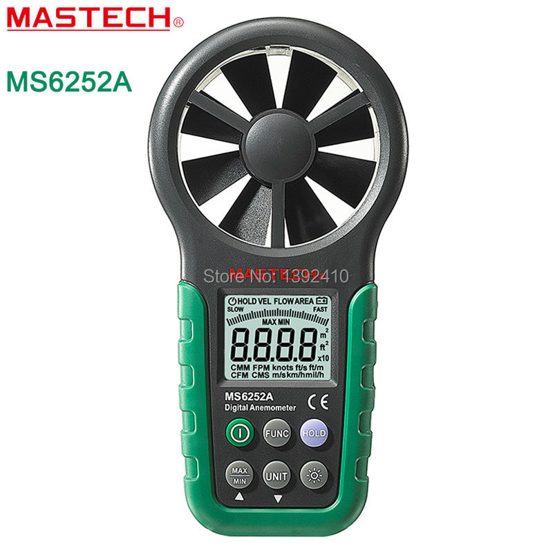 ФОТО MASTECH MS6252A Wind Speed Test Meter Multifunction Digital Anemometer Tachometer/Air Volume/Thermometer/Humidity