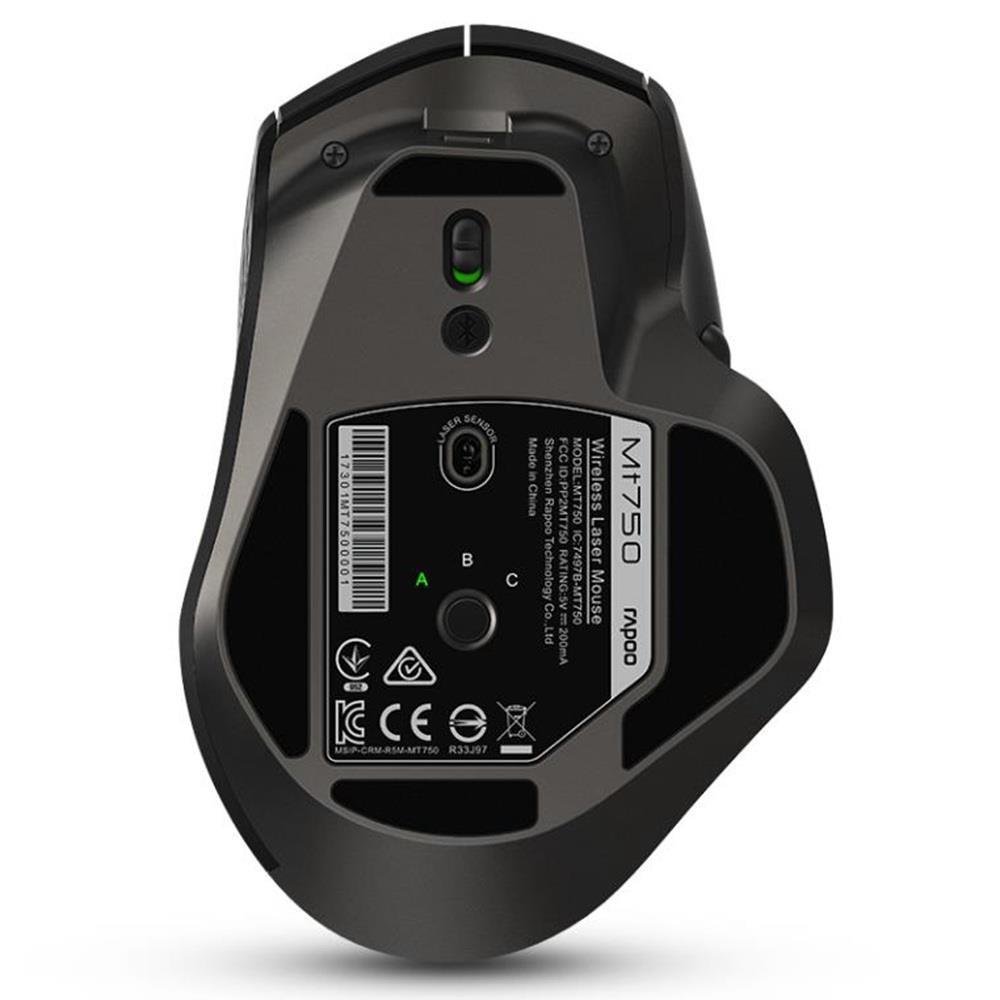 Rapoo recargable Multi-modo ratón inalámbrico Bluetooth 3,0/4,0 y 2,4G interruptor para cuatro dispositivos de conexión de la computadora ratón de juego - 4