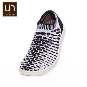 Image 3 - حذاء رياضي غير رسمي منسوج من UIN Sicily 2 للرجال ألوان أسود/أبيض أحذية رياضية بدون كعب يسمح بمرور الهواء