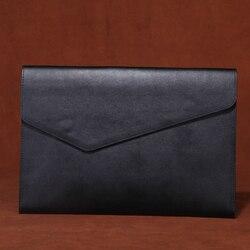 Retro cuero de vaca A4 bolsa de documentos de negocios bolso de mano maletín informes Carpeta de gran capacidad agarre de mano bolsa de archivo