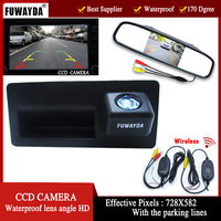 FUWAYDA Night Vision 170'' Wide view Angle HD Handle CCD Car RearView Reverse parking Camera for Audi A4 A6 A8L S5 Q3 Q5