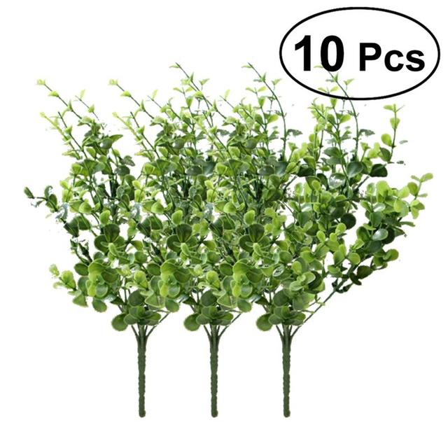 10 Bunches Of Artificial Eucalyptus Plant Plastic Fake Green Plants  Lifelike Bushes For Home Garden Patio
