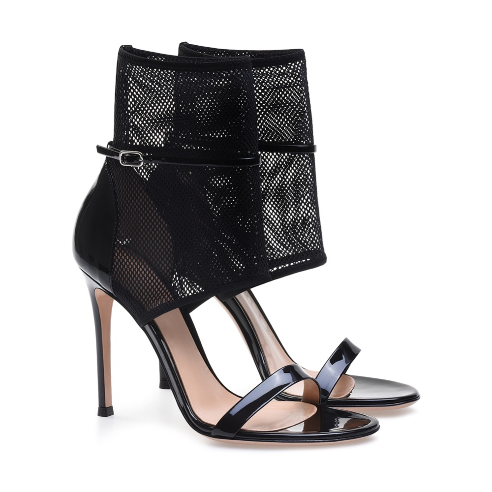 Black High Heel Mesh Sandals Fishnet Ankle Strap Heels Laddies Sexy Dress Shoes Women Summer Booties Stiletto Heels Large Size