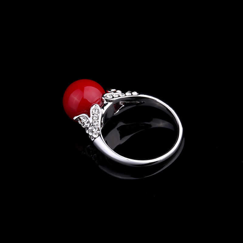 Rose Gold Silver Plated คริสตัลบอลคริสตัลประดิษฐ์ Coral แหวนหินสีแดงโบราณรอบแหวน