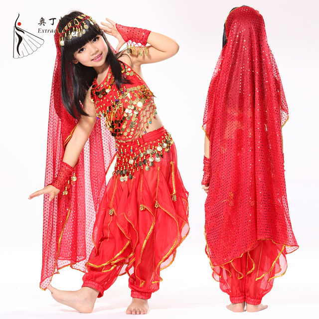 Cute 6 Pieces KIDS Bollywood Indian Dresses Girls India Belly Dance ...
