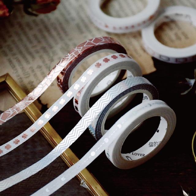 5mm x 5 m decoración de papel Diy artesanía purpurina Rosa lámina de oro cinta de Washi pegatina de papelería japonesa Scrapbooking la escuela suministros