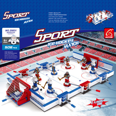 Model building kits compatible with logo city Ice hockey board game football 3D blocks Educational toys