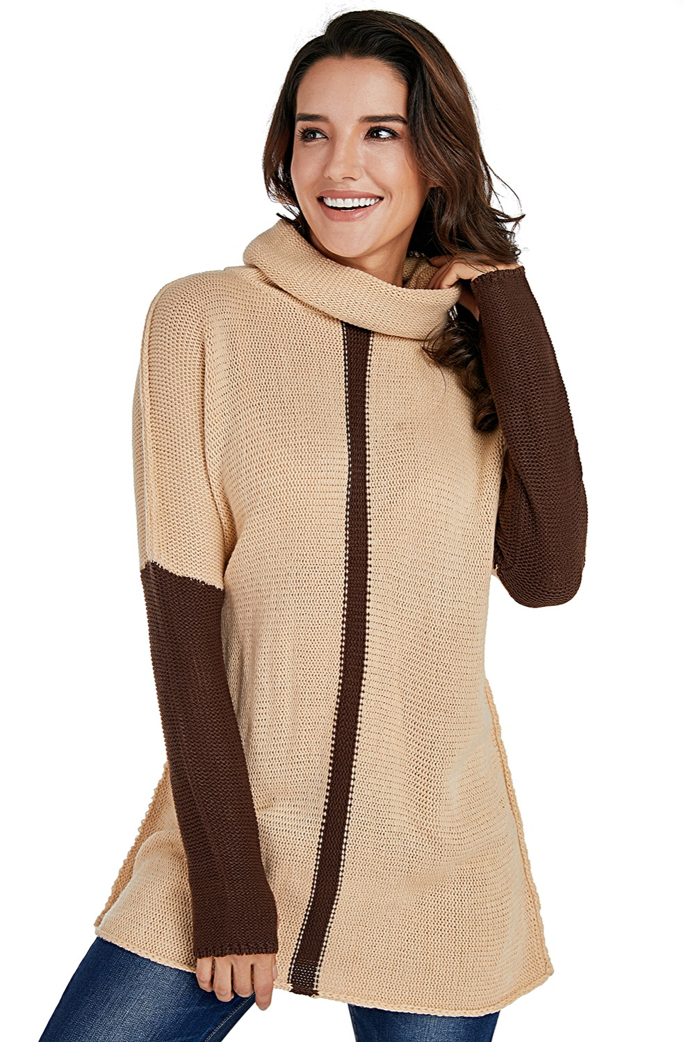 1d838e1b8f Brown Apricot Individual Cowl Neck Pullover Sweater Women Long Sleeve  Patchwork Thumb Hole Sweaters Knitting Casual Long Sweater-in Pullovers  from Women s ...
