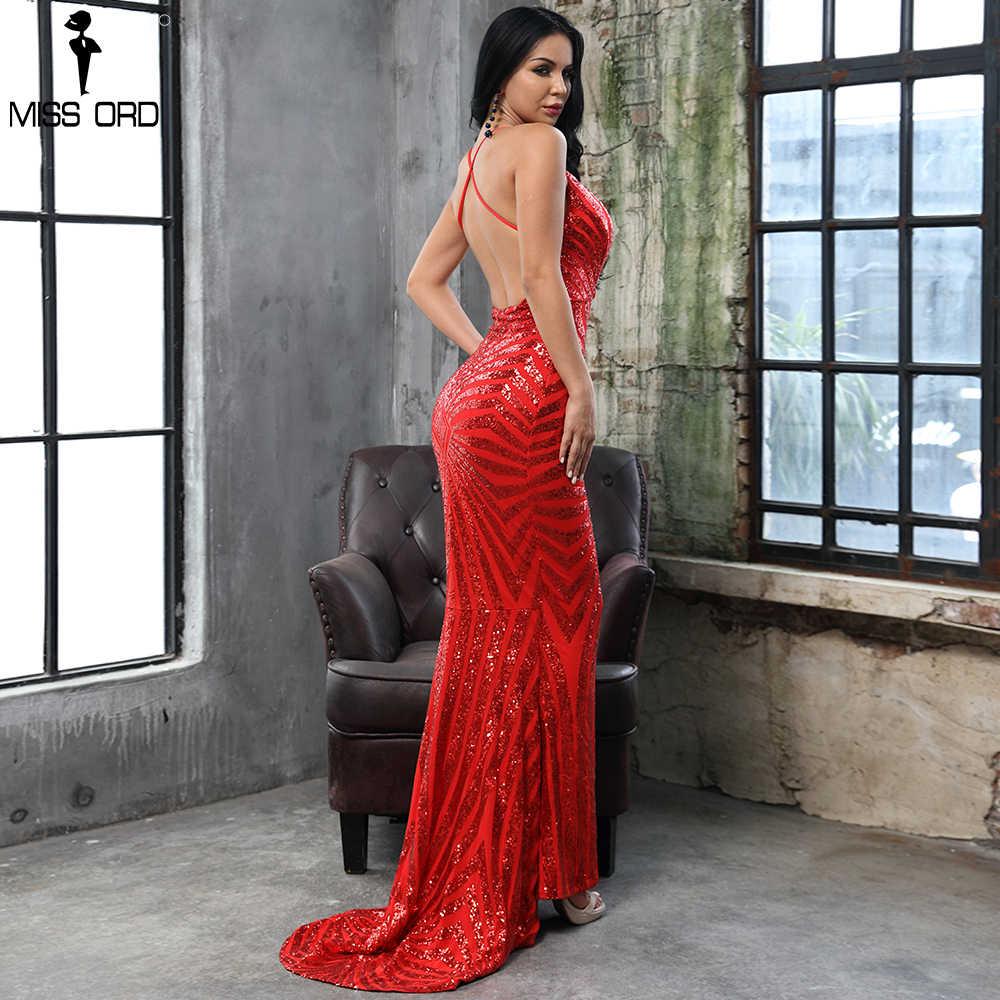 59fad5527e Missord 2019 RED DEEP v neck Elegant Striped Backless Women Dresses Sequin  Bodycon Maxi Party Dress Vestidos FT8928-22