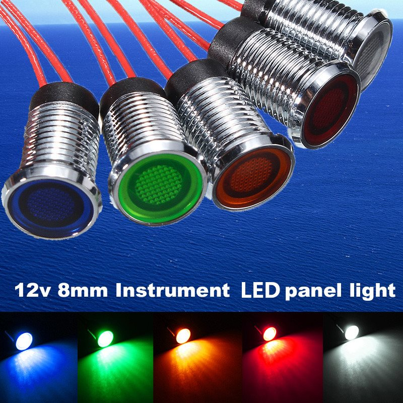2pcs 8mm led dash panel pilot indicator instrument light signal lamp car boat marine truck 12v red blue green white yellowin signal lamp from automobiles