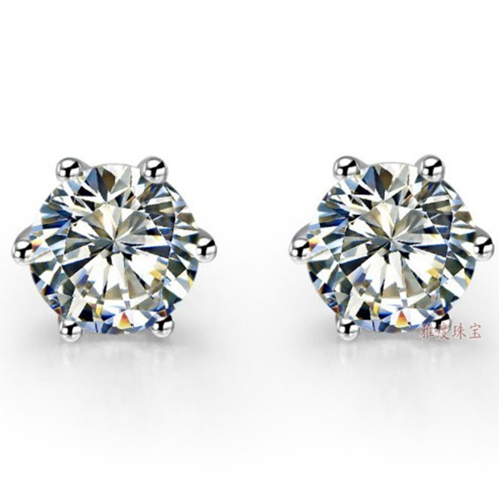 Piece White Gold Earrings Round Six Prongs Simulate Diamond  Female Solid 18k White
