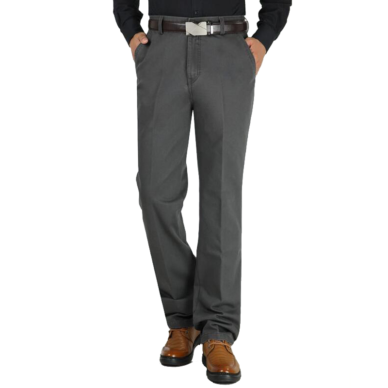 Autumn Winter Thick Men Casual Pants High Waist Wash And Wear Comfortable Straight Middle-aged Men's Cotton Leisure Trousers