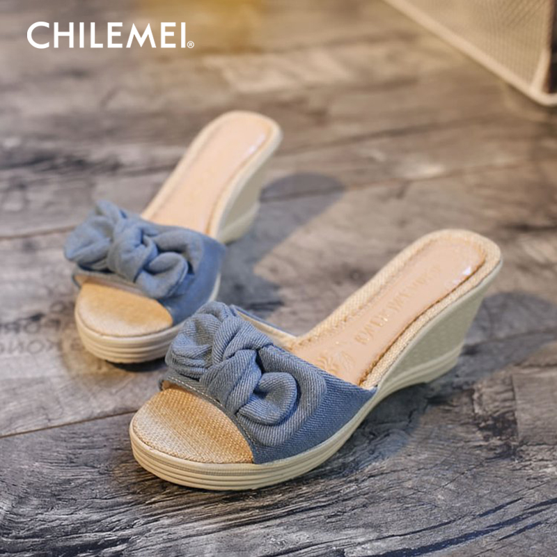 2018 New Summer Women Shoes Sandals Plat With Thick Platform Student Female Flip Flops Big Bow Slippers Beach Slides High Heels xczj sandals female 2018 summer new thick with bow tie lattice shoes korean students wild word buckle high heels