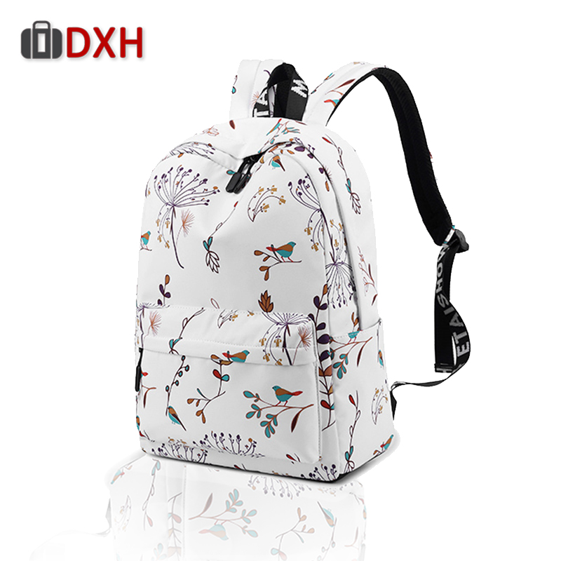 DXH mochila feminina Casual Waterproo Women Backpack Flower Printing Girls mujer Bookbags Travel Bagpack mochilas 2019DXH mochila feminina Casual Waterproo Women Backpack Flower Printing Girls mujer Bookbags Travel Bagpack mochilas 2019