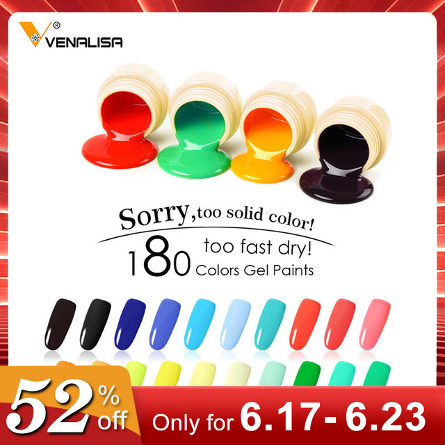 180 Cores Nail Art Designs VENALISA Sólida 2019 Venda Quente Soak Off Gel Tinta UV LED Tinta Tinta de Cor Gel prego Verniz Gel Laca