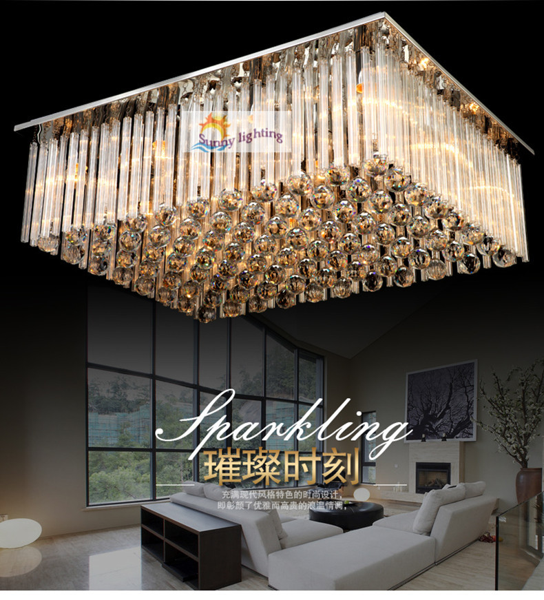 Modern big luxury crystal ceiling lamps hotel villa hanging lighting living room project ceiling for Ceiling lights for living room philippines