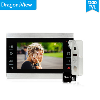Dragonsview 7 inch Video Door Phone Doorbell Intercom System Touch Button Wired Outdoor Camera Metal Wide Angle Record  Unlock redeagle 7 inch video door phone intercom system 940nm ir night vision doorphone doorbell camera 110 degree wide angle