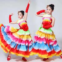 Spanish Bullfight Flamenco Skirts Belly Dance Dresses For Girls Long Robe Flamenco Peony Petal Dress 360/540/720 Degree DL2889