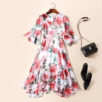 RED ROOSAROSEE New High End High Quality European And American Foreign Trade Flare Sleeve Rose Printed