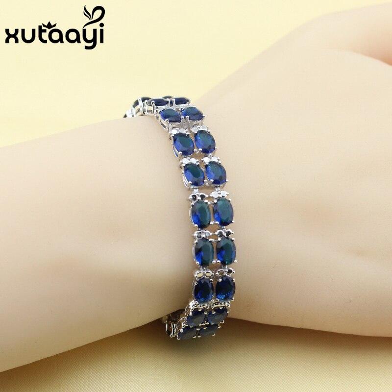 8ff76f875ecd Nueva moda plata color pulsera para las mujeres superior azul cubic  zirconia adjustable link chain pulsera longitud 16 + 2 cm