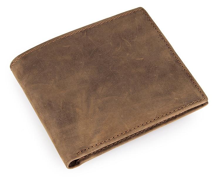 Nesitu Vintage Brown Color Genuine Leather Crazy Horse Leather Men Wallets Cowhide Card Holder Man Purse