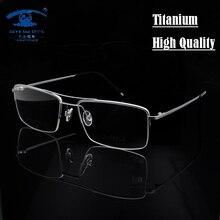 High Quality Titanium Glasses Frame Men Half Rim Eyeglasses Pilot Glass Eyewear Business Man Spectacle Frame Clear Lens