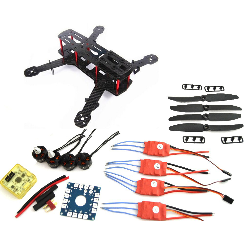 Carbon Fiber Mini QAV250 C250 Quadcopter Motor 12A Esc Flight Control Prop mini zmr250 carbon fiber quadcopter cc3d evo control mt2204 2300kv motor emax blheli firmware 20a esc 5045 prop led lights board