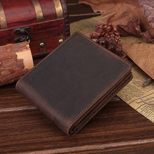 Simple Style Crazy Horse Leather Pocket Wallet with Inner Zipper Purse Card Holders Leather Coin Pocket Men's Leather Wallet(China)