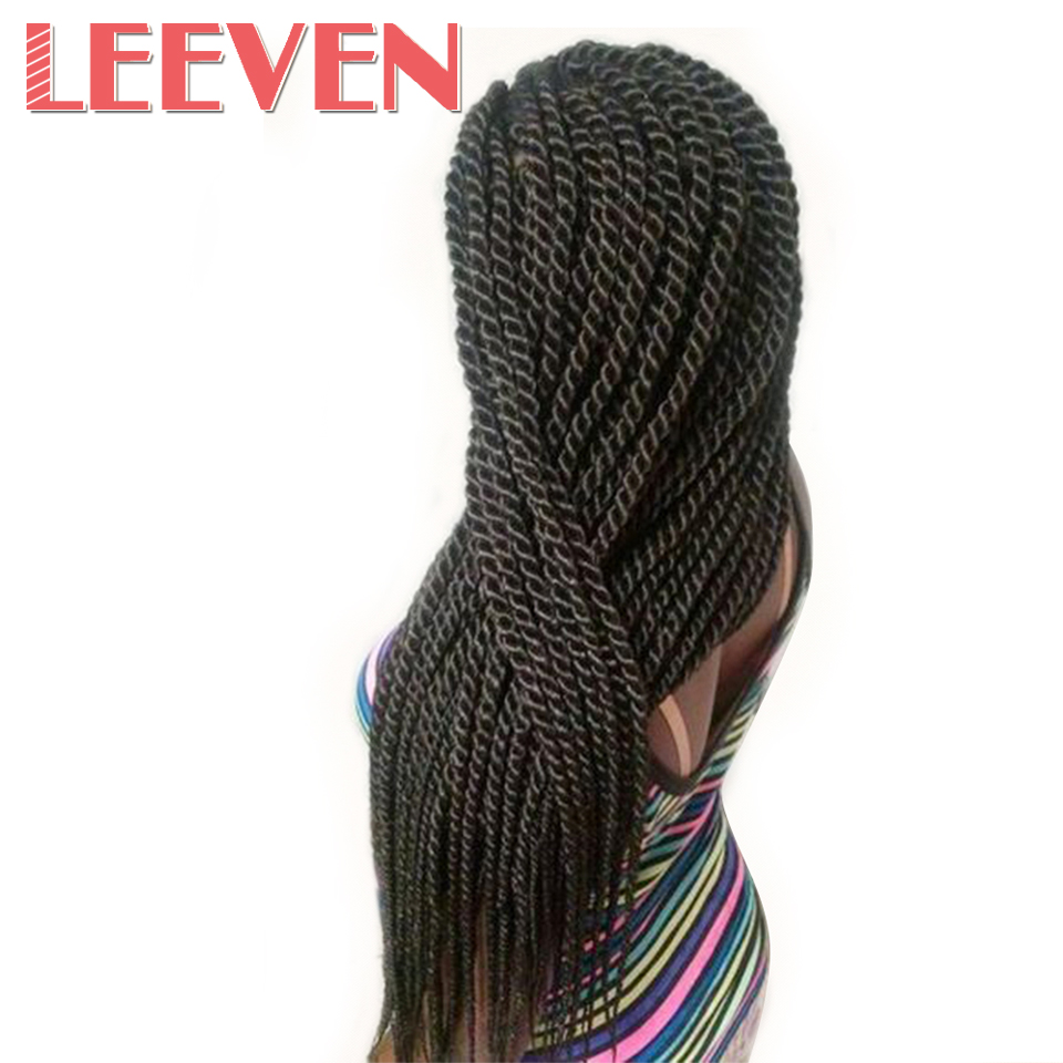 Leeven 22'' 22strands Senegalese Twist Hair Crochet Ombre Braids synthetic Braiding Hair Extension Black High Temperature Fiber