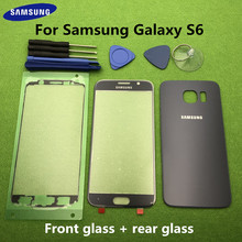 Originele Front Screen Glas Lens Voor Samsung Galaxy S6 G920 SM G920F Rear Batterij Cover Deur Terug Behuizing + Sticker Gereedschap