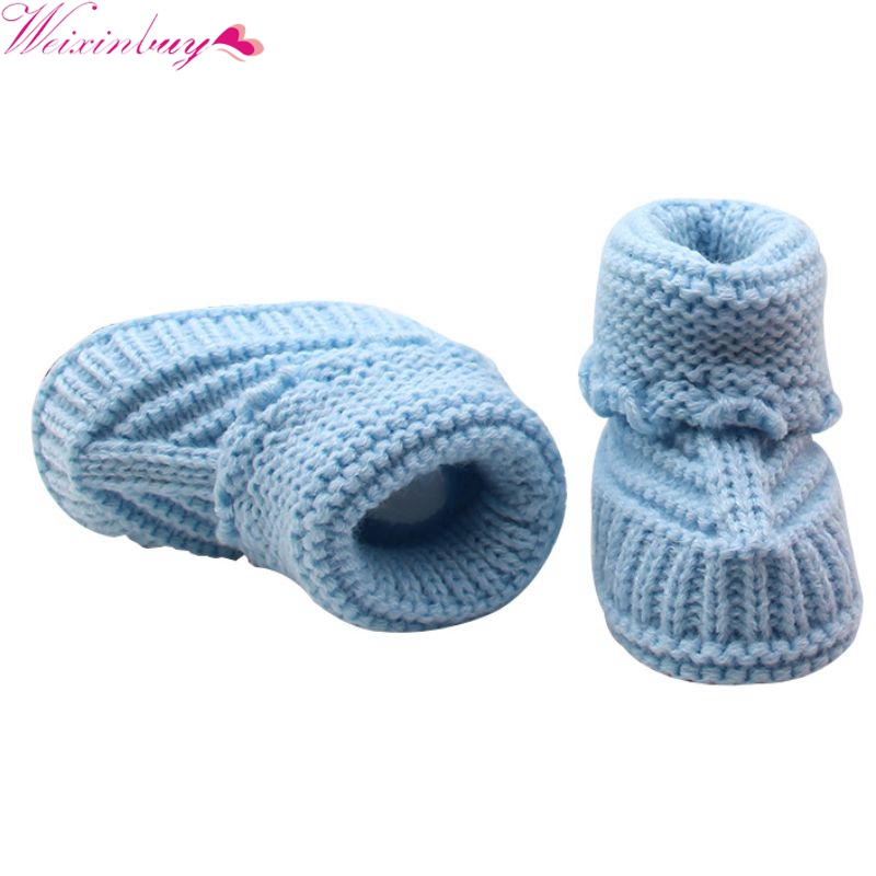 Handmade Newborn Baby Crib Shoes Infant Boys Girls Crochet Knit Winter Warm Booties