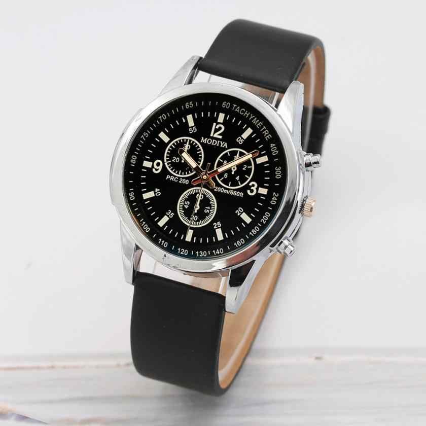 relogio masculino Hot Sale Watch Men Three Eye Watches Quartz Men's Blue Glass Belt WristWatch Leather Band Fashion reloj hombre