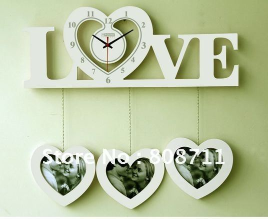 love shaped wall clock with photo frames for dinning room bedroom decoration ems free shipping