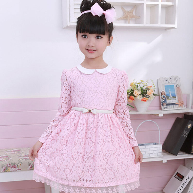 New 2016 Spring Children Clothing Casual Lace Girls Dress Princess Long-sleeved Solid Knee-Length Dress With Sashes Kids Clothes children s girls autumn long sleeved korean lace princess dress kids clothing mesh lace white