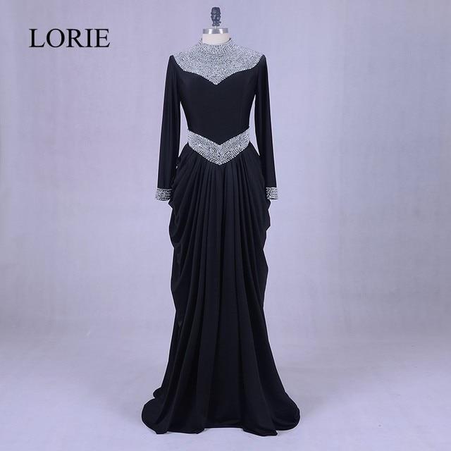 Moroccan Kaftan Black Evening Dresses 2018 See Through High Neck Silver  Crystal Muslim Long Sleeve Prom Dresses Vestido de festa 07ff2b3f67de