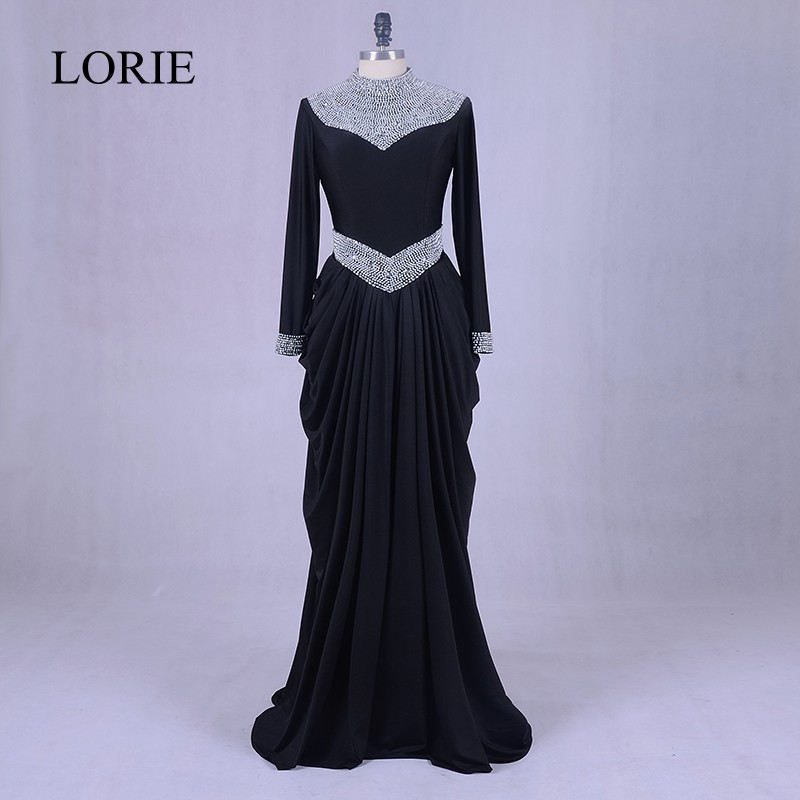 Moroccan Kaftan Black   Evening     Dresses   2018 See Through High Neck Silver Crystal Muslim Long Sleeve Prom   Dresses   Vestido de festa