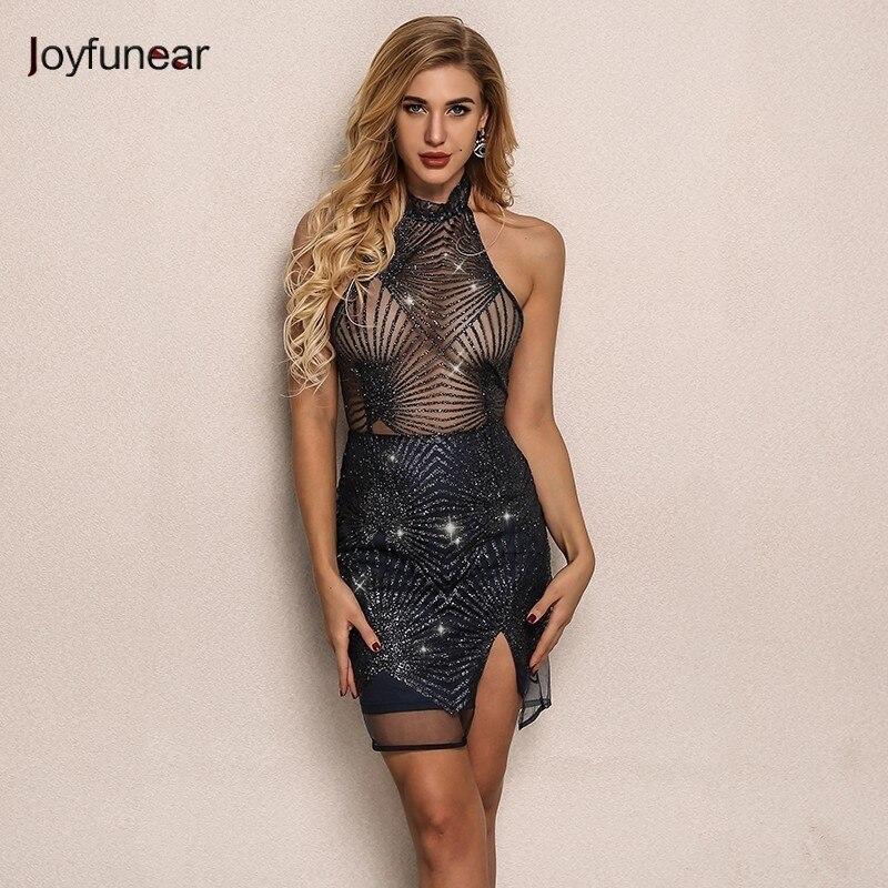Joyfunear 2019 Fashion Backless Autumn Sequin Women Dress Elegant Clubwear Mini Lace Party Dress Bodycon Sexy Dresses Vestido
