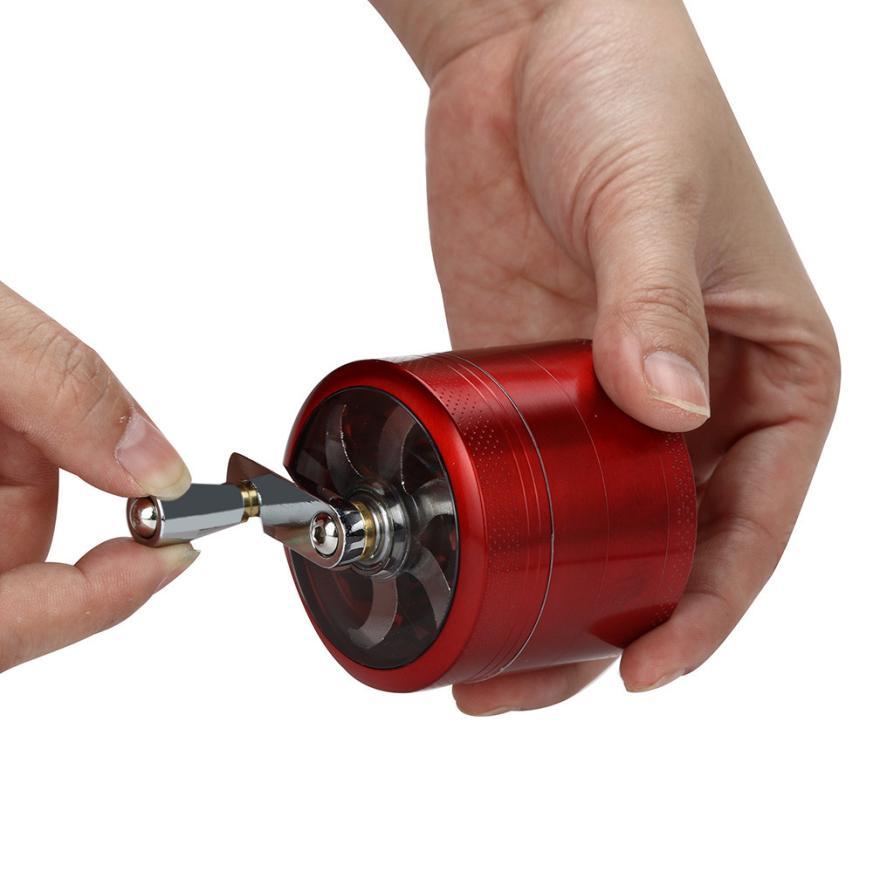 1PC Metal Hand-Cranked tobacco grinder Crusher Tobacco Cutter Grinder Hand Muller Shredder Smoking Case 5O1218