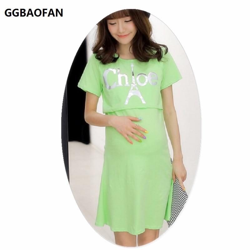 8c465e4234d GGBAOFAN maternity nursing dress summer wear short-sleeved round neck  clothes for pregnant women breast-feeding ...