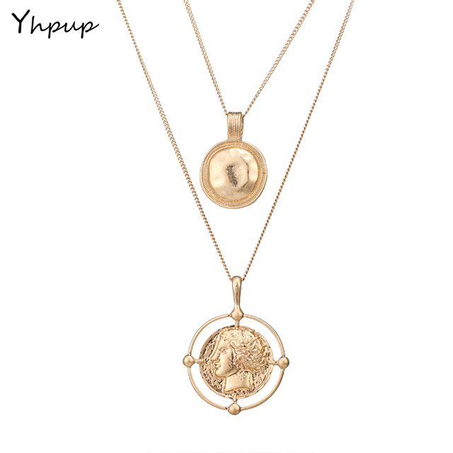 Yhpup charms long chain round collar baroque medusa necklace pendant yhpup charms long chain round collar baroque medusa necklace pendant simple vintage golden portrait trendy metal aloadofball Gallery