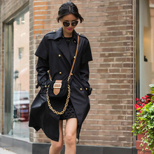 Black Trench 2016 Winter Europe Brand Turn-down Star Style Full Sleeve Belt Pockets Double Button Women Warm Topshop Trench