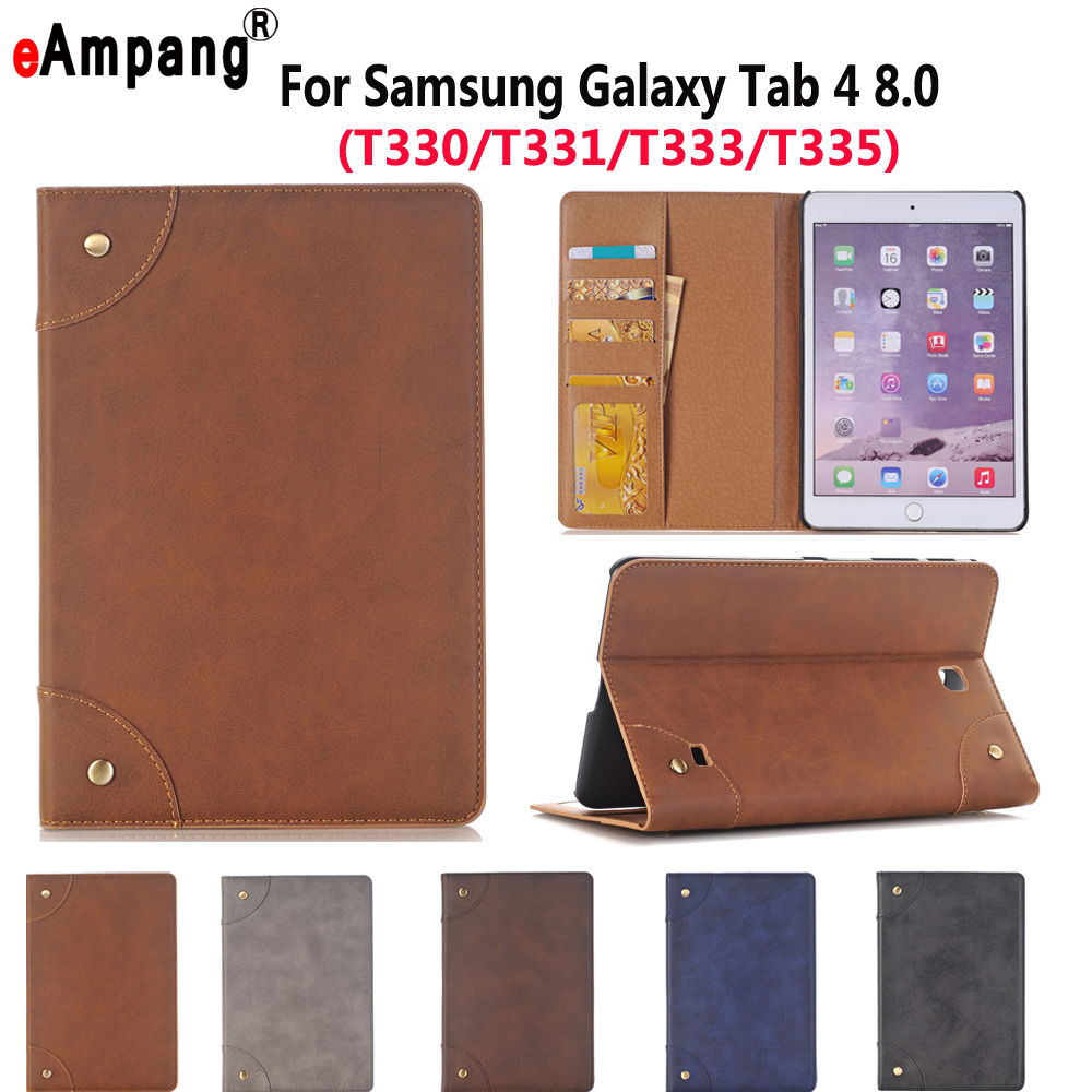 Leather Case For Samsung Galaxy Tab4 Tab 4 8.0 T330 T331 T335 Luxury Business Slim Smart Sleep Stand Flip Card Slot Tablet Shell