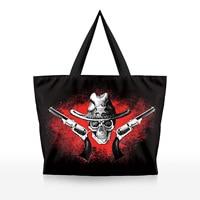 Skeleton Design Cartoon Women Printing Environmental Protection Bag Zipper Large Shopping Tote Bag Halloween Gift Ladys