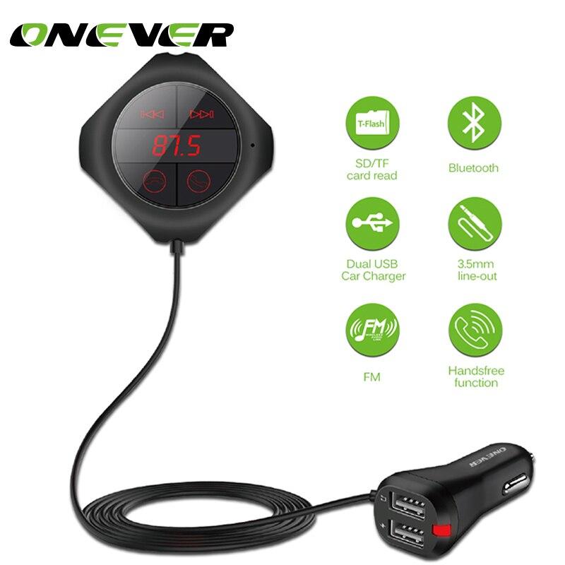 ONEVER 6 в 1 Hands Free беспроводной Bluetooth fm-передатчик модулятор автомобиля MP3 плеер TF/памяти SD карты USB ЖК-автомобиль аксессуары  автомагнитола fm трансмиттер mp3 плеер car-styling фм модулятор