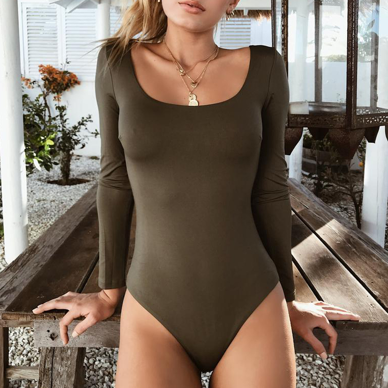 <font><b>2018</b></font> New Arrival Autumn Winter <font><b>Women</b></font> Long Sleeve Cotton Black <font><b>Sexy</b></font> Bodycon Bodysuit image