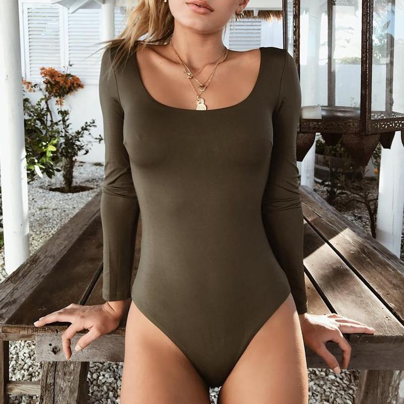 2018 New Arrival Autumn Winter Women Long Sleeve Cotton Black Sexy Bodycon Bodysuit