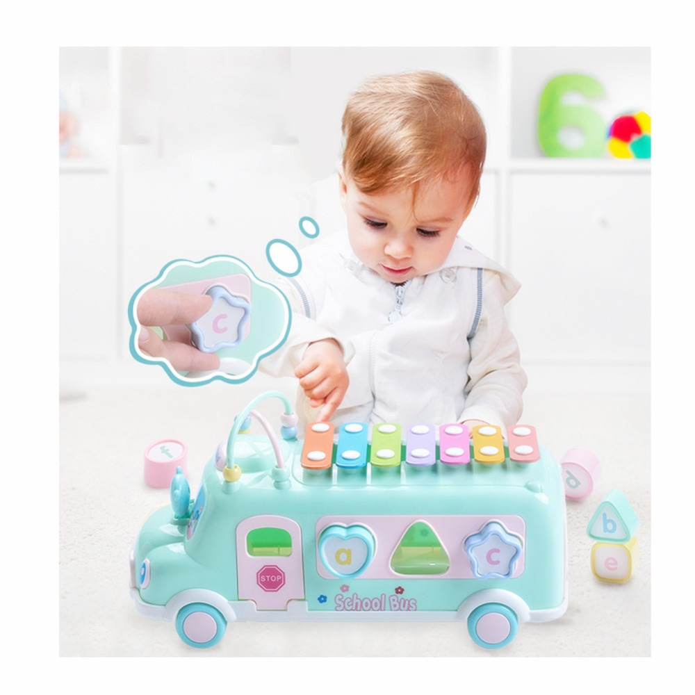 Купить с кэшбэком Multifuctional Bus Xylophone Toy Car Match Game Bus With Block Piano Musical Instruments Dragging Educational Vehicle for Kids