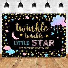 Twinkle Littler Star Gender Reveal Backdrop Pink Blue Cloud Photography Background Party Banner Backdrops