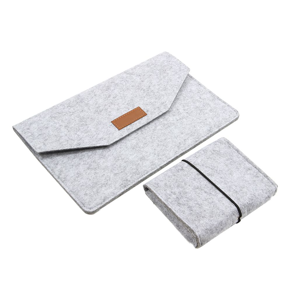 Soft Sleeve Bag Case For Macbook Air Pro Retina 13 Laptop Anti-scratch Cover For Macbook 13.3 inch Light Gray with small bag